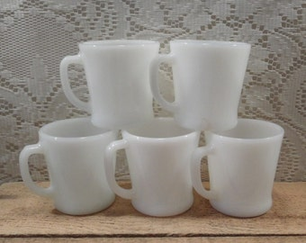 Anchor Hocking Milk glass coffee cups Fire King set of 5