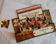Happy Thankgiving, Greeting Card, handmade, balsampondsdesign, complete inside, complete outside, green, pumpkin, cards