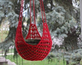 Crocheted Hanging Plant Holder/Bird Feeder -  Indoor/Outdoor  - Style three - Free shipping in USA
