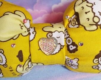 Pompompurin puffy hair bow, Sanrio sweet lolita dog sparkle barrette hair clip