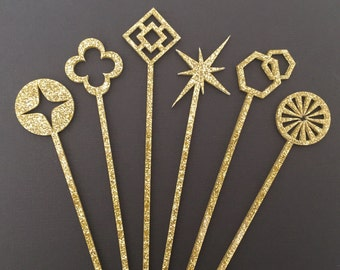 Geometric Gold Glitter Drink Stirrers - Set of 6 Laser Cut Glitter Acrylic Stir Sticks