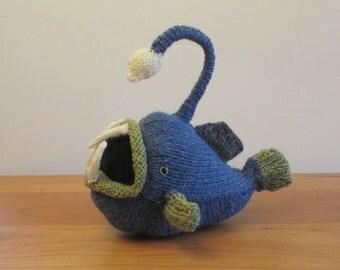 Deep Sea Anglerfish, Angler Fish Suffed Animal, Fiber Art Sculpture Handknit.