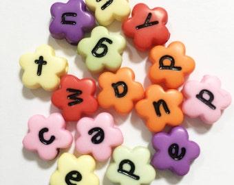 100 pcs of colorful flower shape alphabet beads 11mm