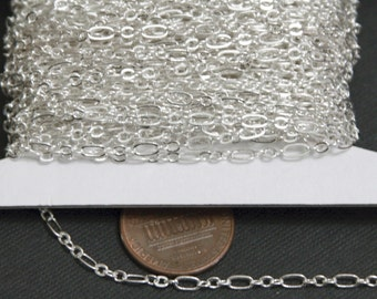 32 ft spoold of Silver plated ( 3 and 1) long and short chain 4.5X2.5mm - Soldered LInks