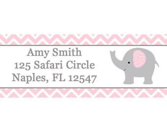 30 Return Address Labels - Baby Shower - Pink Elephant