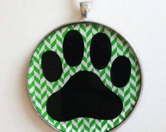 SALE - Paw Print  Ornament - Choose your background pattern