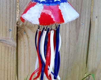 Red White and Blue Fused Glass Jellyfish Wind Chime