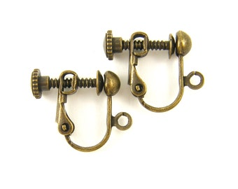 4 Pcs Antique Brass Clip on Earring Findings Antique Bronze Screw Back with Loop |AN4-17|4