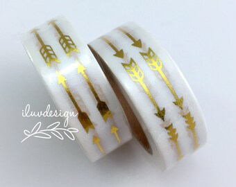 SALE Gold Arrow Tape • Gold Foil Tape • Gold Arrow Decorative Tape • Gold Arrow Metallic Tape