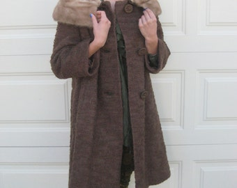 Vintage 1950s 1960s Lytton's Chocolate Brown Overcoat with Fur Collar Swing Coat (00091-BB)