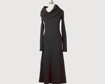Alena Designs - Iris - Long Cowl Neck Dress Cotton French Terry Black