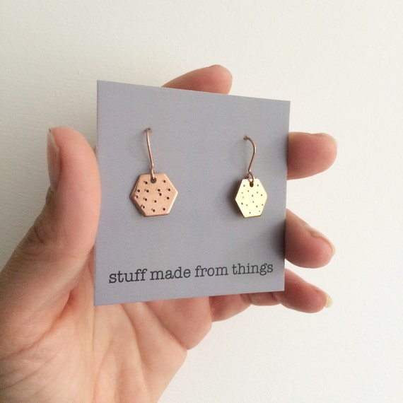 Hexagonal Copper Earrings - Spotty - Geometric - Modern - Simple - Dots