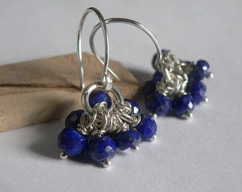 Sapphire and Sterling Silver Earrings, Sapphire, Blue, Blue Earrings, Sterling Silver Earrings