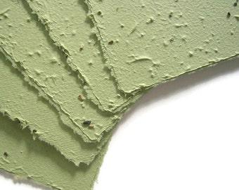 Sage green plantable seed paper sheets, made from recycled paper & wildflower seeds - Handmade stationery - Craft supply - Handmade paper