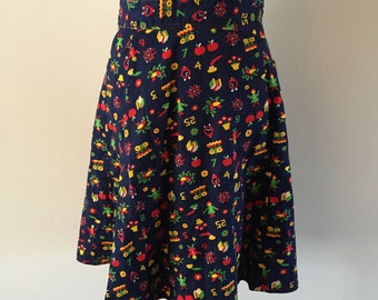 Vintage Wrap Skirt Teacher Back to School print Navy and Red sz S