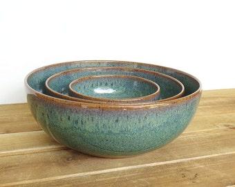 Stoneware Ceramic Nesting Pottery Bowl Set in Sea Mist Glaze, Rustic, Green Blue, Serving Bowl - Set of Three