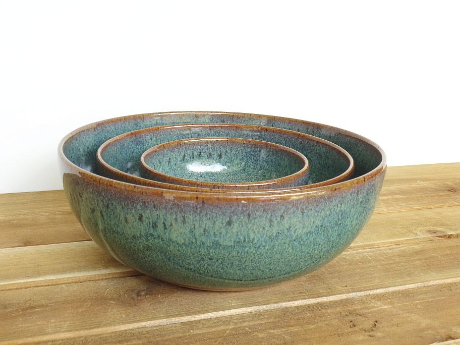 Stoneware Ceramic Nesting Pottery Bowl Set in by ...