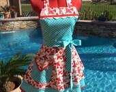 Sassy Bird Apron with Petticoat, Womens Plus Sizes, Kitchen Apron, Full, Handmade, Moda Kiss Kiss Paris, Love Letters Letters