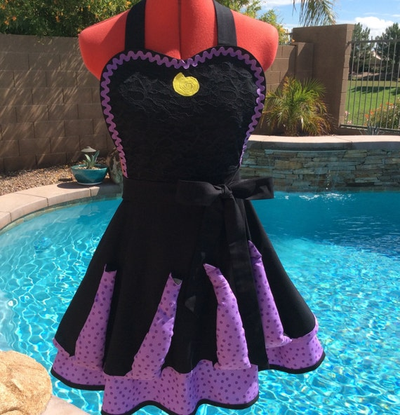 Ursula's Sea Witch Inspired Sassy Apron, Cosplay Apron, Adult Costume with Tentacles, Womens Misses and Plus Sizes, Girls Sizes, Dress Up.