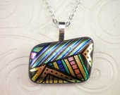 Retro Style Multi Color Hand Etched Dichroic Fused Glass Pendant