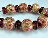 Glass Lampwork Bead Set  Pink   Ivory Green Purple Victorian Roses