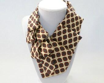 Necktie Scarf - Womens Tie - Unique Gift - Statement Necklace - Silk Scarf - Neckties For Women - Cream and Red Scarf - 10
