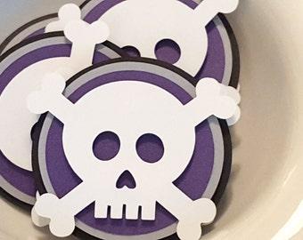 Skull and Crossbones Halloween Scrapbook Embellishments in Black, White and Purple