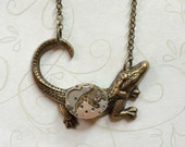 Alligator necklace, steampunk style, alligator pendant, women's gift, nature jewelry, animal necklace, wildlife, watch movement