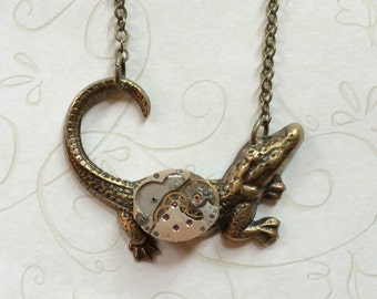 Alligator necklace, steampunk, vintage watch movement, alligator pendant