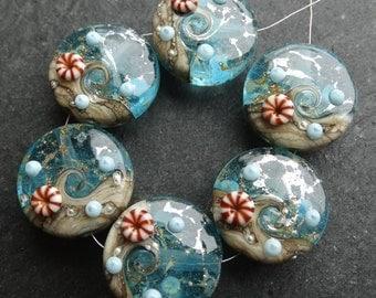 Lampwork Beads 018 Sprees (6) Ocean Wave with Murrine
