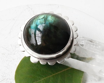 Lucid Orb Ring - Sterling Silver and Labradorite Stone Statement Ring