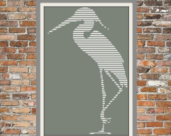 Heron on Grey - a Counted Cross Stitch Pattern