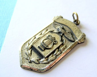 Sterling 1950's Harp and Laurel Wreath Fob