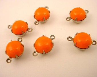 6 Vintage  opaque Orange Tangerine Round domed  Glass Drop Connector 9mm antique brass ox setting