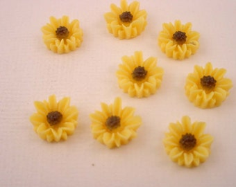 12 Yellow Daisy Petal brown flower Cabochons 10mm