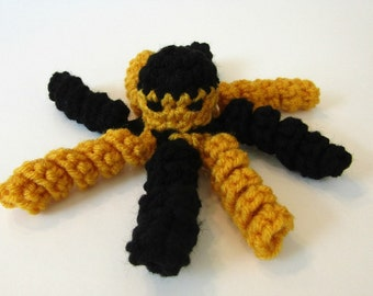 Mitzy, the Black and Gold Octopus. Black & Gold School Colors Cthulhu. Amigurumi Octopus, Kawaii Cthulhu. Ready-to-Ship