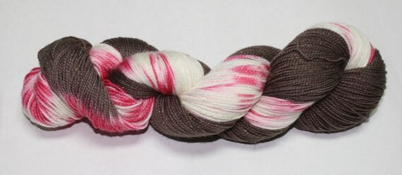 Peppermint Bark Hand Dyed Sock Yarn