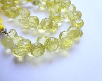 7mm Micro Faceted Onion Briolette Genuine Lemon Quartz Gemstone Beads - 6 pcs