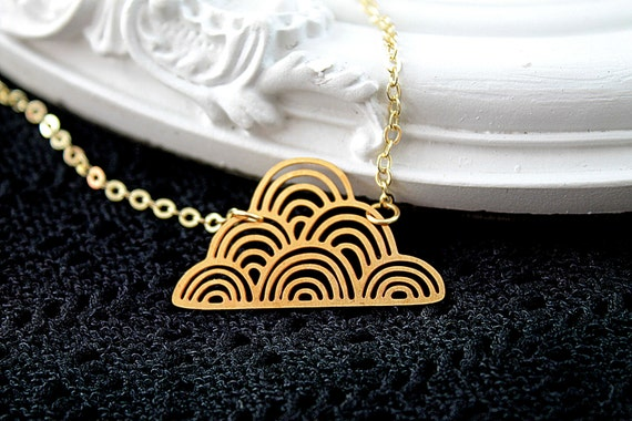 Golden cloud filigree geometric necklace weather sky cute simple