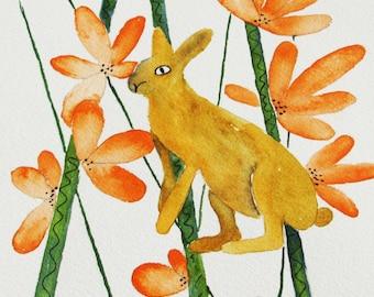 original orange rabbit watercolor painting, rabbit and flower watercolor, 11x14 watercolor painting