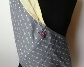 Baby Sling  Baby Carrier - Gray with White Arrows  Yellow  Lining  - Second Items ships free