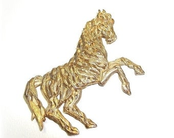 JJ Horse pin Jonette brooch gold tone vintage jewelry