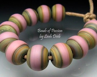 Glass Beads Handmade SRA Artisan Lampwork - 12 Earthy Pink Tie Dyes