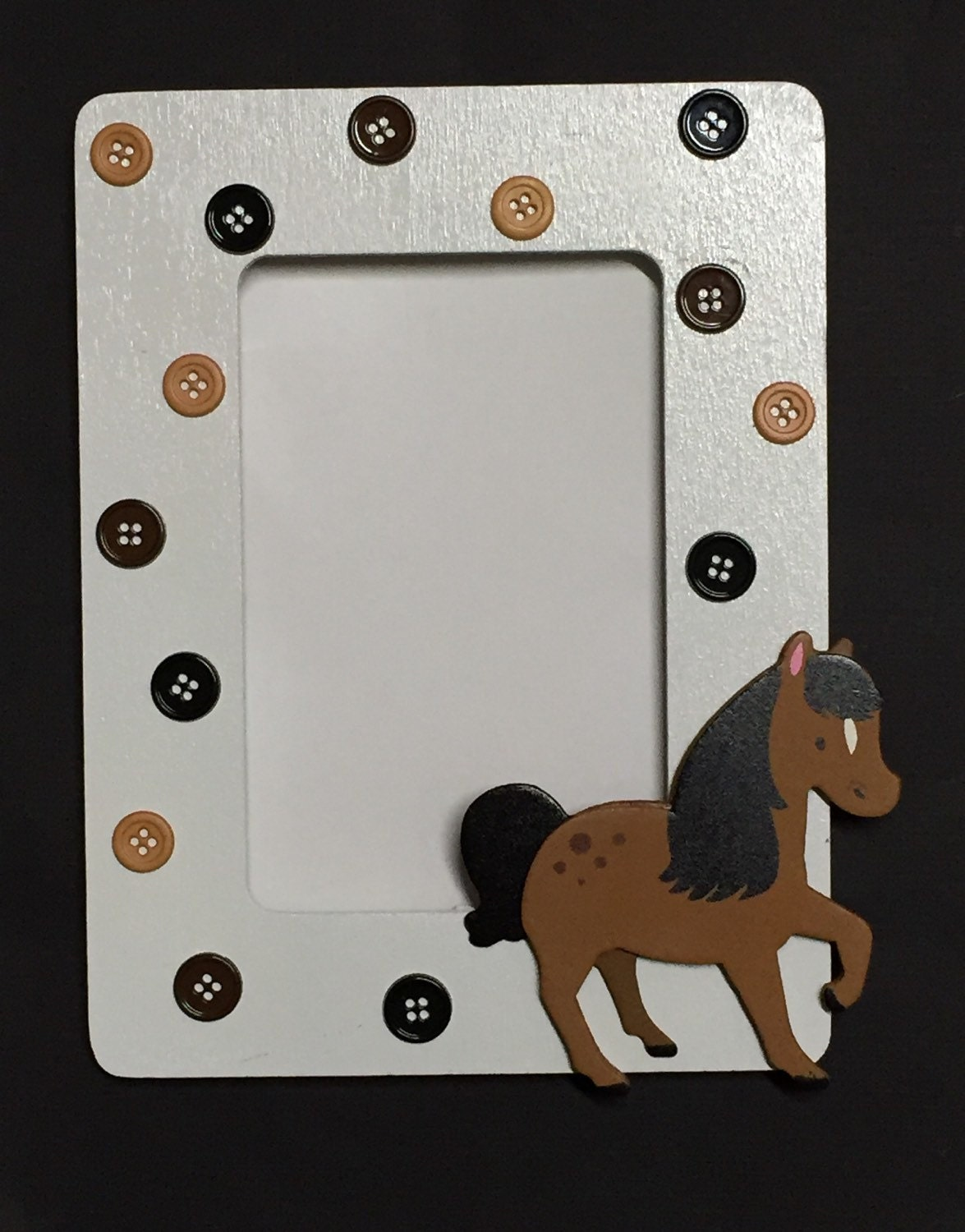 horse button picture frame baby shower or birthday favor