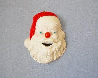 Vintage Display Santa Face Christmas 1950s Xmas Hard Plastic Wall Hanging