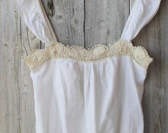 Country Girl Vintage Cotton White Sleeveless top, Women's Vintage clothing