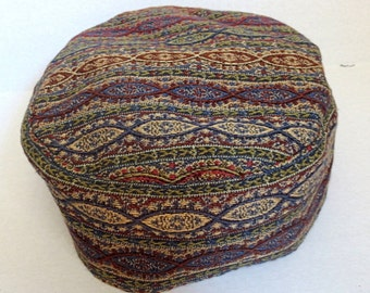 """Paisley weave Bucharian kippah earthy colors tapestry yarmulke 23"""" gorgeous colors on sale now great gift for him"""
