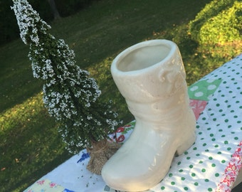Vintage Christmas - Sweet Old White Pottery Santa Boot Planter - Winter White - A Beauty!