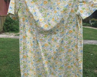 Vintage Blue, Yellow, Pink and Green Floral Print Cotton House Dress