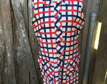 Vintage 1970's Era Ladies' Mod Red, White & Blue Dress